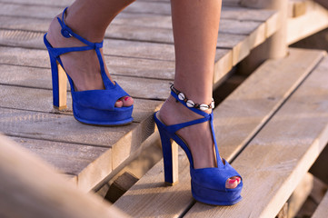 Blue sandals with high heels