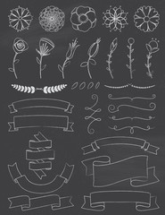 Chalkboard Flowers and Ribbons Design Elements