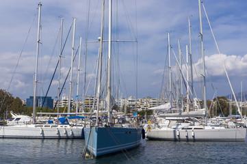 Sailing boats and yachts in the marina. Mediterranean sea