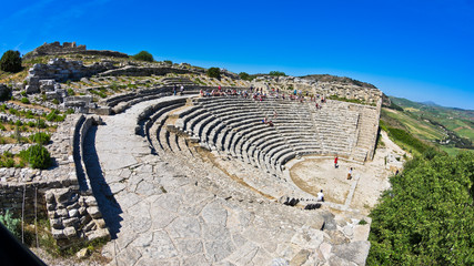 Landscape of Sicily with ancient greek theater at Segesta
