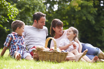 Family Enjoying Summer Picnic In Countryside Wall mural