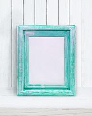 mint photo frame on white background