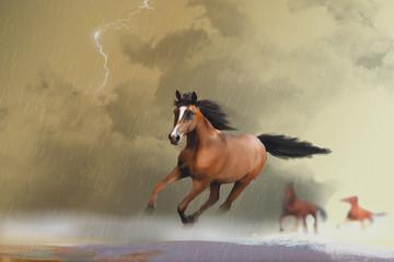 horses running through water