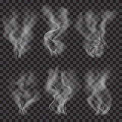 Set of translucent gray smoke.Transparency only in vector