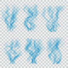 Set of translucent blue smoke. Transparency only in vector