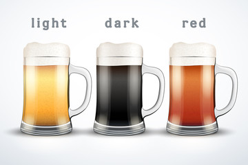 Beer mugs with three brands.