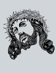 Jesus Christ face, art vector design