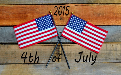 4th of July - Independence Day - American Flag on Pallet wood