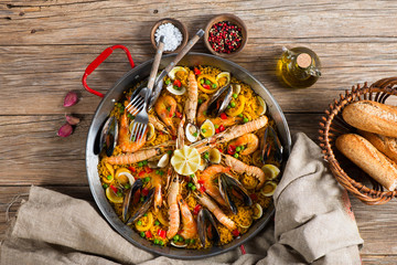 Spanish paella with seafood, view from above
