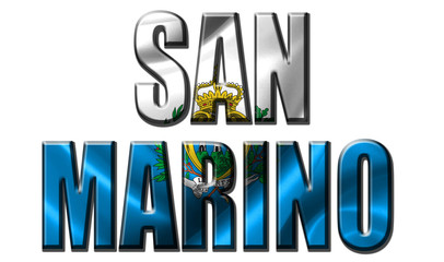 Text concept with San Marino waving flag