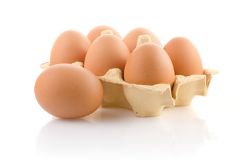 Brown eggs in the package
