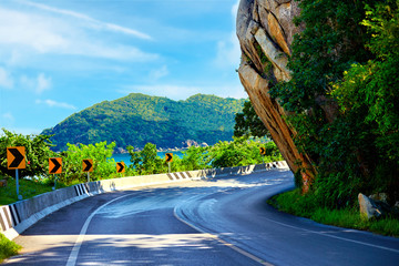 The Big Rock road at Lamai, Samui Island, Thailand, local landmark