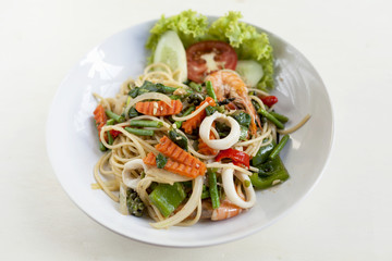 Thai style fried spagethi with spicy seafood