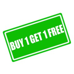 Buy 1 get 1 free white stamp text on green background