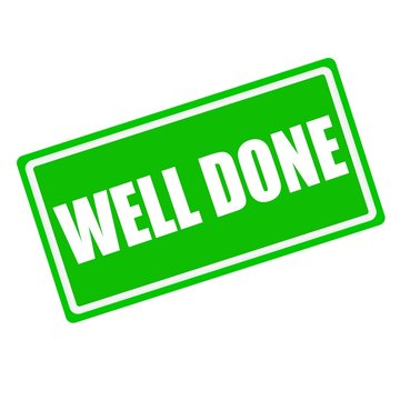 Well done white stamp text on green background