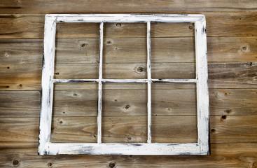 Vintage window on rustic cedar boards