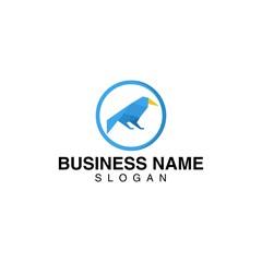 Raven bird in origami style logo template set