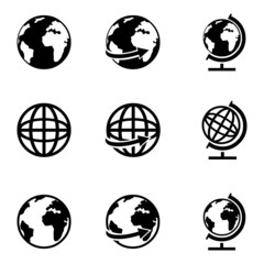 Vector Set of Globe Icons