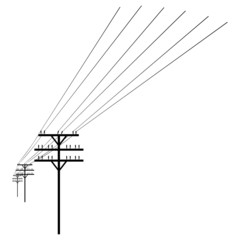 Vector White Silhouette of Power Line