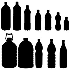 Vector Silhouettes of Plastic Bottles