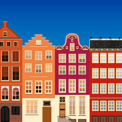 Street of abstract old houses.