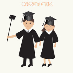 Graduated man and woman selfie with mobile phone