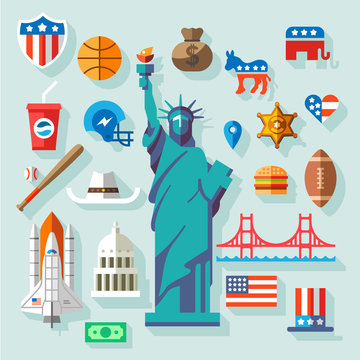 USA  Symbols -  many vector flat icons