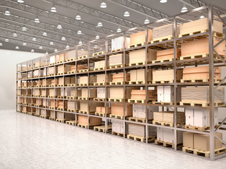 Wall Mural - 3d illustration of rows of shelves with boxes in modern warehous