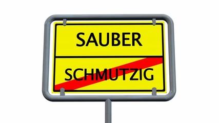 sauber / schmutzig - schild