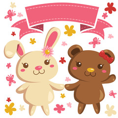 Cute White Bunny and Brown Bear Holding hands vector