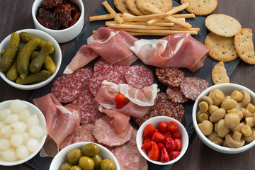deli meat snacks, sausages and pickles on a blackboard, close-up