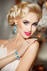 Fashion woman jewelry model retro makeup hairstyle