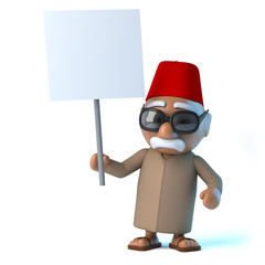 3d Moroccan holding a placard
