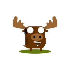 Cute moose with large eyes cartoon expressions set