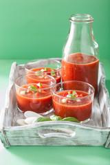 cold gazpacho soup in glasses