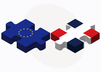 European Union and Dominican Republic Flags in puzzle