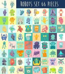 Robots Set, vector Illustration, Hand Drawing