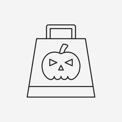 halloween shopping bag line icon