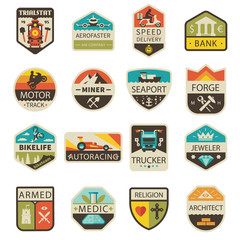 Vintage logos and badges. Professions and Transportation. Vector flat  logo set