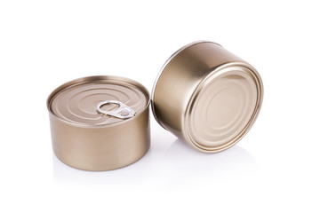 Aluminum can on a white background