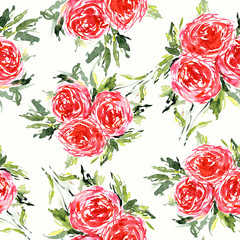 Seamless floral pattern. Watercolor floral background with red roses.