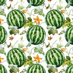 Watercolor watermelon melon pattern