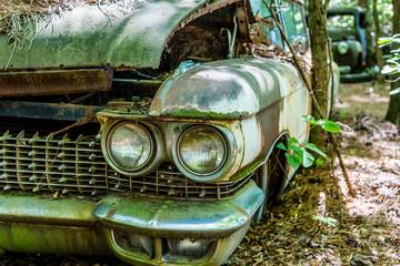 Twin Headlights on Classic Car