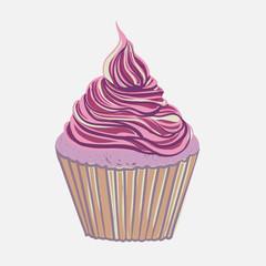 Vintage pink hand drawing cupcake