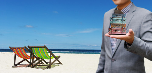 Summer travel package concept, Businessman offer travel package