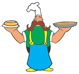 Cartoon cook with pizza and pie in his hands,