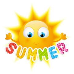 Cartoon Sun with summer word