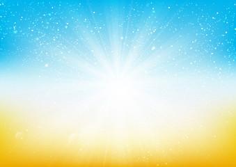 Shiny light on blue and orange background