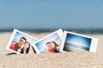 Instant Photo Of Young Happy Boyfriend And Girlfriend Happy On Beach