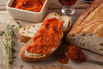Typical meat spread made of pork and paprika from Calabria and Majorca.